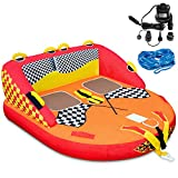 Towable Water Tube | 2-Person Inflatable Floating Raft for Boating with Cushion Seats, Grip Handles, Dual Tow Points & Speed Safety Valve For Fast Inflation | 12V Air Pump & Tow Rope Included