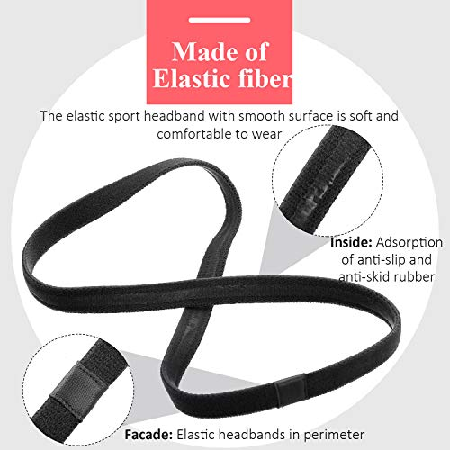 9 Pieces Thick Non-Slip Elastic Sport Headbands, Elastic Silicone Grip Exercise Hair and Sweatbands for Yoga (Black, White, Gray)