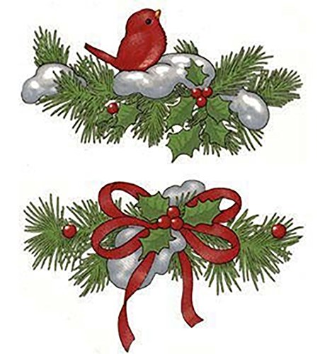 """622 Christmas Pine Bough Cardinal Snow Ceramic Decals by The Sheet (Select-A-Size) (12 pcs 4"""" X 2-1/2"""")"""