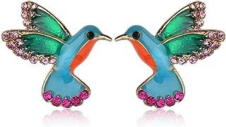 Punk Green Enamel Crystal Hummingbird Bird Stud Earring for Women Colorful Metal Animal Studs Earring Statement Jewelry