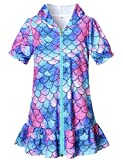 ChildrenStar Swim Cover up for Girls Terry Beach Cover-Up Unicorn Hooded Zip Robe,Size 8 9