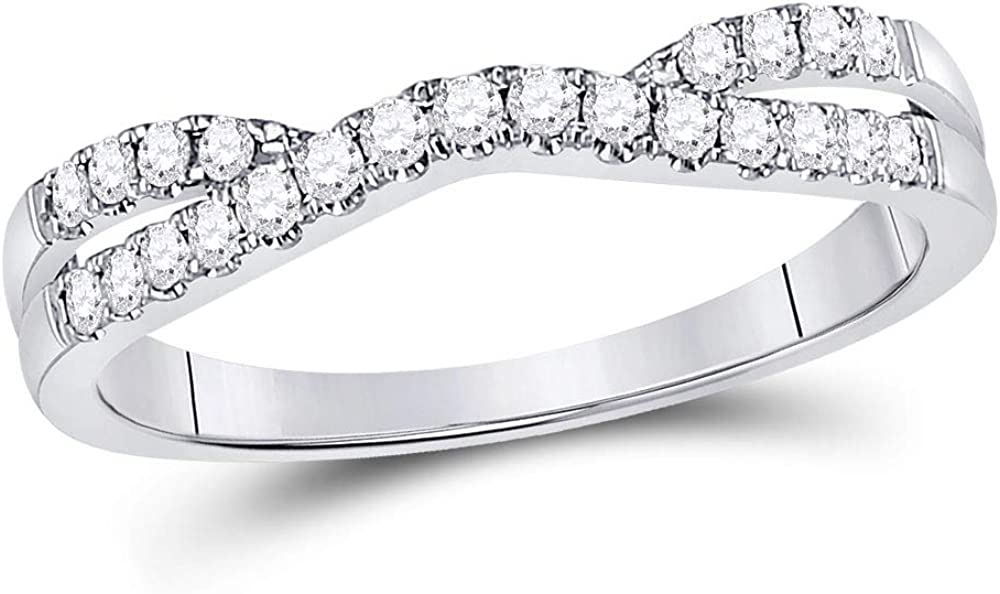 14kt White Gold Womens Round Diamond Ring Contour Enhancer Wedding Band 1/4 Cttw