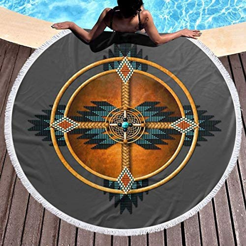 KAIYANJIXIE Native American Mandala Round Beach Towel Oversized Microfiber Beach Towel Blanket product image