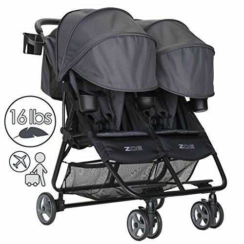 ZOE XL2 Deluxe Double Xtra Lightweight Twin Travel & Everyday Umbrella Stroller System (Noah Grey)
