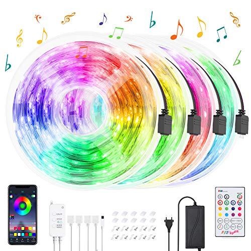 Striscia LED 20M,HeertTOGO Bluetooth strisce LED RGB 300 LED SMD5050, 20 colori con telecomando IR a 23 tasti, luci led per Decorazioni, Autoadesiva colorato Divisibile Collegabile Nastri Led da APP