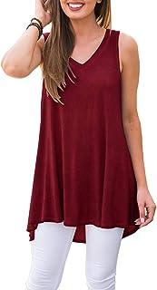 baaea286 AWULIFFAN Women's Summer Sleeveless V-Neck T-Shirt Tunic Tops Blouse Shirts