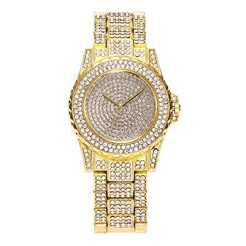 HT Luxury Design Full of Shiny Rhinestone Quartz Movement Wrist Watches Woman—Gray