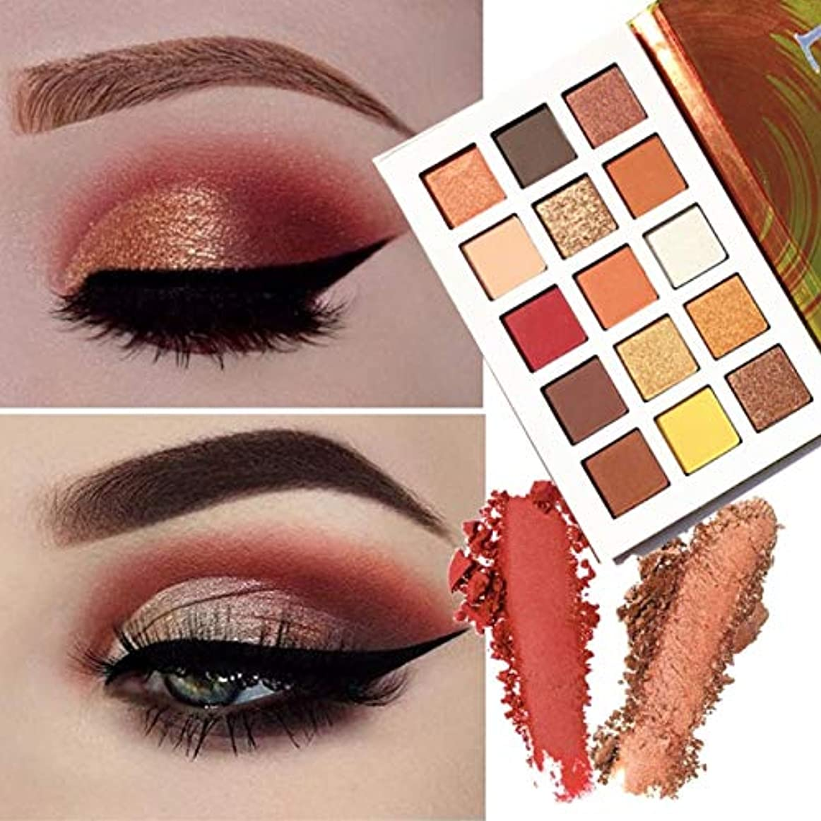 厳密に生命体自信がある15-Colour Sunset Natural Eye Shadow Palette Shimmer Glitter Long-lasting Waterproof Easy to Wear Eye Shadow Natural Highly Pigmented Professional Warm Cosmetic Eye Shadows