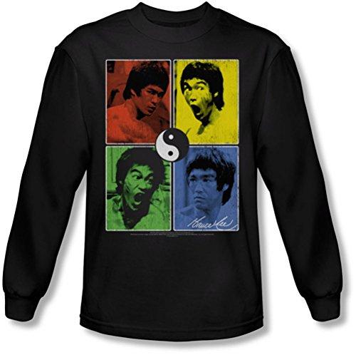 Bruce Lee - - Hommes Entrez shirt Color Block manches longues en noir, Large, Black