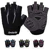 Grebarley Cycling Gloves Bike Gloves Bicycle Gloves MTB Gloves Road Anti-Slip Shock-Absorbing Gel Pad Light Weight Breathable Mountain Biking Gloves for Men Women (Black, XL)
