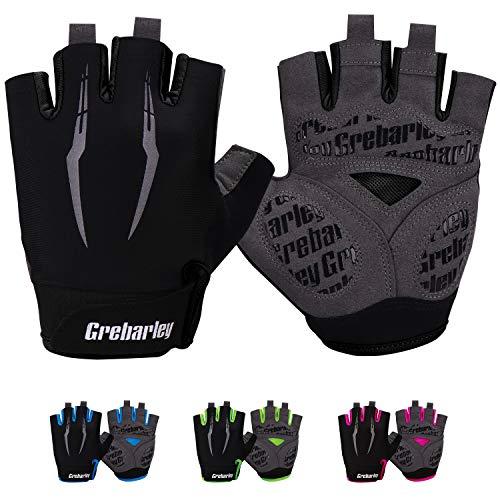 Grebarley Fahrradhandschuhe,Radsporthandschuhe rutschfeste und Stoßdämpfende Mountainbike Handschuhe mit geeiget Unisex Herren Damen (XXL, schwarz)