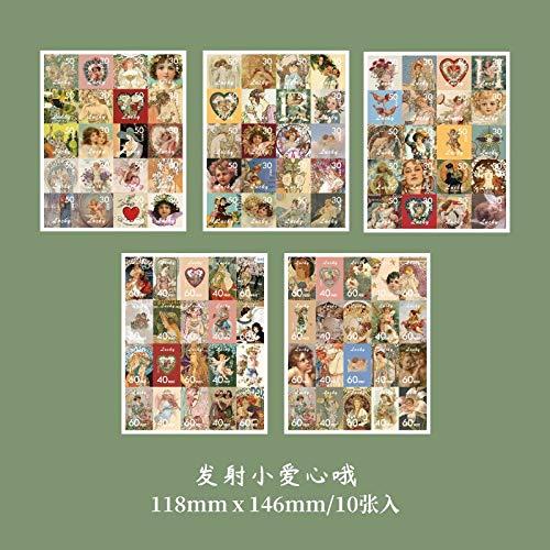BLOUR 10 Hojas/Lote Pegatinas de papelería Kawaii Retro Cartero Diario planificador Decorativo móvil Pegatinas Scrapbooking DIY Pegatinas artesanales