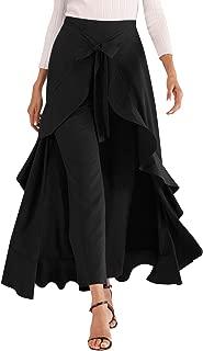 Avitalk Women Ruffle High Waist Pants Skirt Split Long Maxi Palazzo skirt