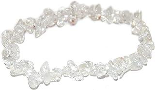 REBUY®Natural Clear Quartz Crystal Healing Chip Gemstone 7 Inch Stretch Bracelet