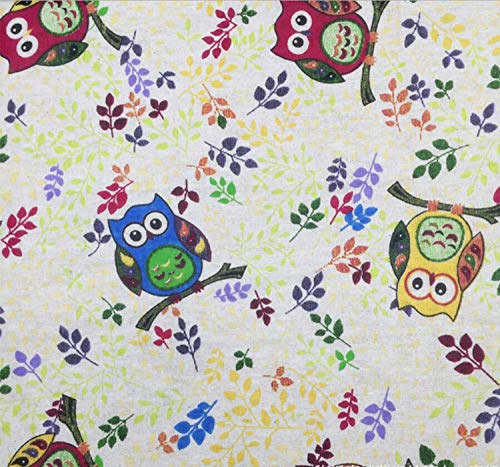 Sheicon Floral Printed Cotton Fabric by The Yard DIY Material Decorative Fabric for Upholstery and Home Accents Color Tree Owl Size 1 Yard