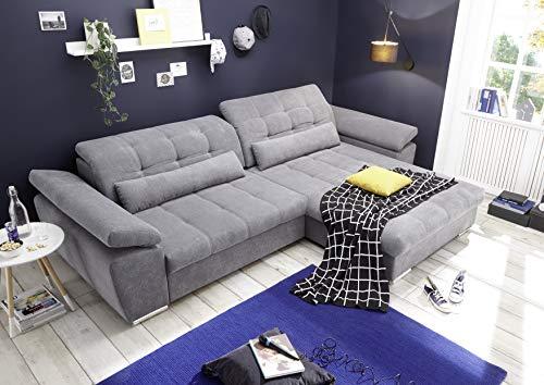 Stella Trading Casarano 2F.URC inkl.man.Sitztiefenverstellung Corner, Microvelour, Uran 03 dark grey, 308 x 85(98) x 200