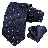 BIYINI Men's Polka Dot Tie Handkerchief Jacquard Woven Classic Men's Necktie & Pocket Square Set, Navy Blue-2, One Size