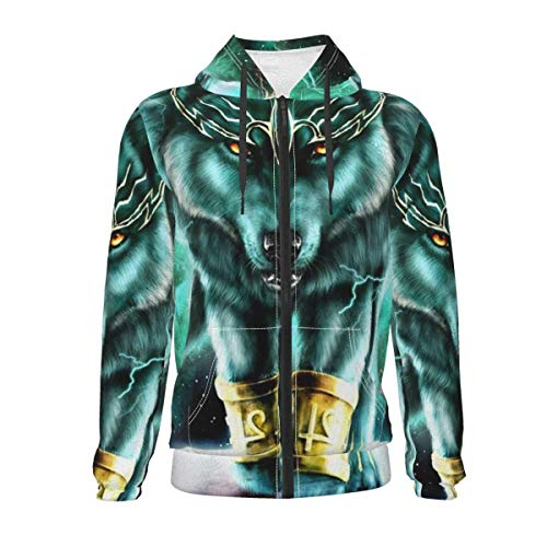 Children Hoodies for Cycling Training Date, Mountain and Northern Light Wolves Psychedelic Forest Zipper Hoodie Hooded Sweatshirt, Long Sleeves Sport Tops with Kangaroo Pockets