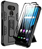 Dahkoiz Case for LG Harmony 4/Premier Pro Plus/Xpression Plus 3 Case with 2 Tempered Glass Screen Protector, Rugged Ring Grip Kickstand Cover Military Grade Phone Cases Compatible with LG K41, Black