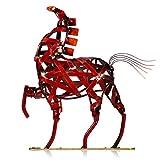 Tooarts Metall Geflochtenes Pferd Deko Skulptur Dekofigur Moderne Skulptur zum Dekorieren - 8