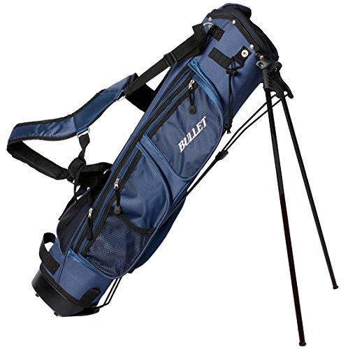 Golf draagtas Pancelbag voor 6 bats halve zitzak in blauw met beschermkap en schouderriem.