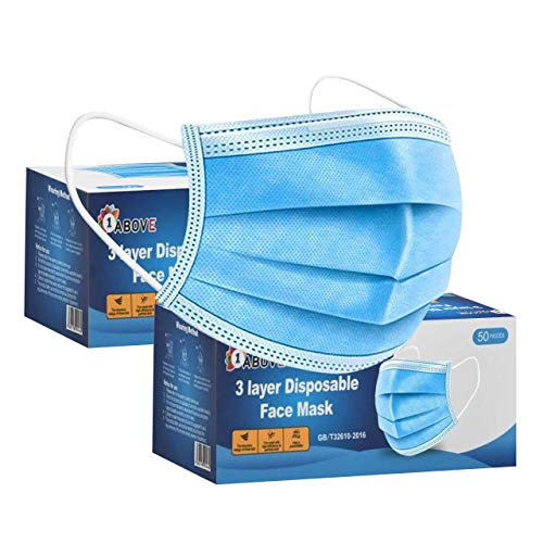 100 PCS -3-Layer Protective Disposable Face Masks, Breathable Face...