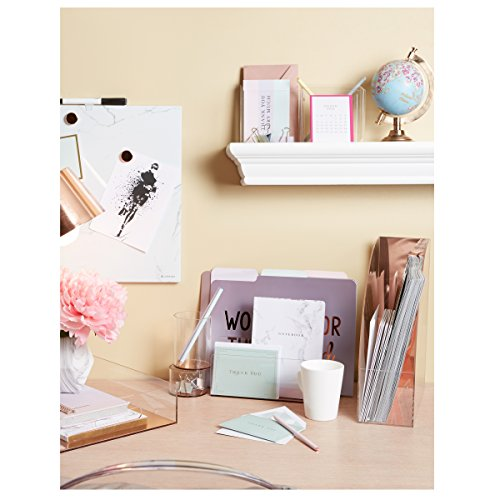 """C.R. Gibson Clear Acrylic File Holder, Mirror Panel, Measures 7.75"""" W x 4"""" H x 4.25"""" D - Rose Gold (LH-20084) Photo #3"""