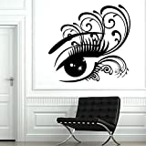 HGFDHG Grandes Ojos Tatuajes de Pared Mujer señoras pestañas salón de Belleza decoración de Interiores Dormitorio de niñas Pegatinas de Pared de Vinilo Ventana Mural de Vidrio