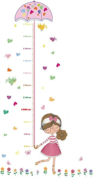 Braceus Kids Height Growth Chart Wall Art Cartoon Girl Bird Flower Sticker Decal
