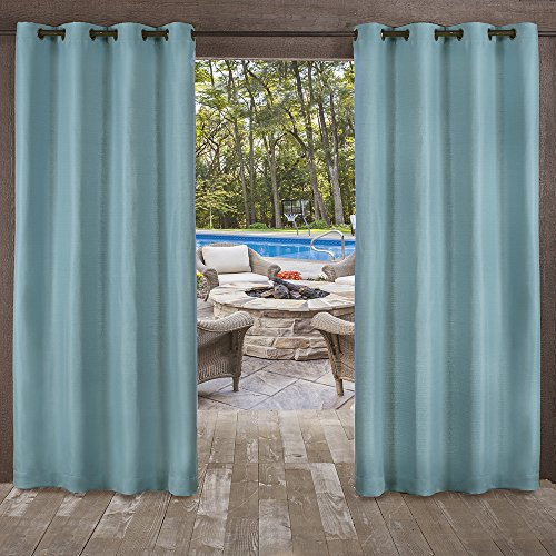 Exclusive Home Curtains Delano Heavyweight Textured Indoor/Outdoor Grommet Top Curtain Panel Pair, 54x84, Teal, 2 Piece