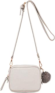 Zip Small Crossbody Bag with Soft PU leather Detachable Pompom Simple Shoulder Bag
