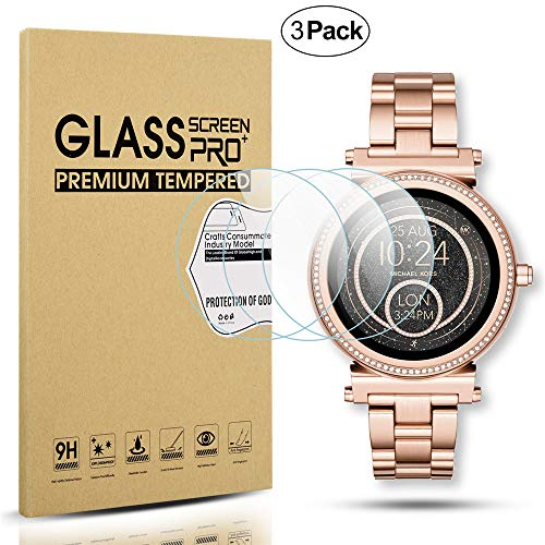 Diruite 3-Pack for Michael Kors Access Sofie Screen Protector, 2.5D 9H Hardness Tempered Glass Screen Protector for MKT5022 / MKT5036 Smart Watch