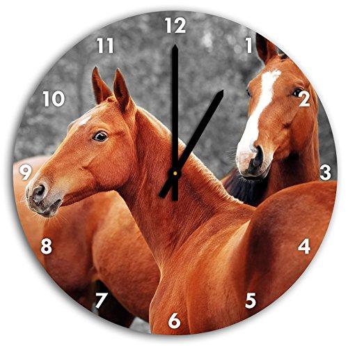 beaux chevaux dans la prairie B & W en détail, horloge murale avec les mains pointues et des objets de décoration de visage, Designuhr, composites en aluminium très agréable pour salon, bureau