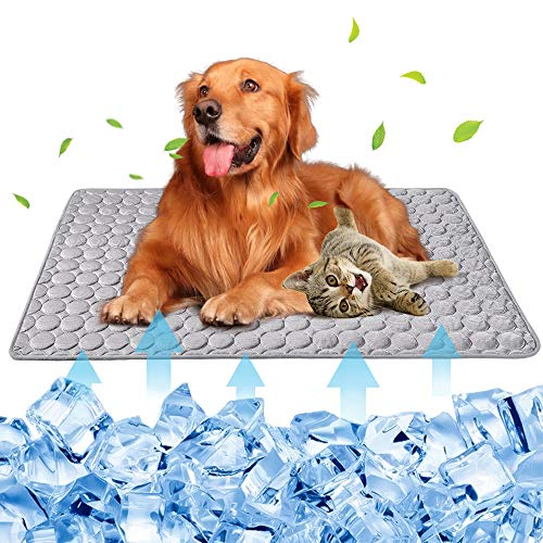 Summer Pet Cooling Mat for Dogs Cats Kennel Ice Silk Washable Mat Breathable Pet Crate Pad Cusion Sleep Mat for Sofa Bed Car Seats Travel Portable Dog Self Cooling Mat (Light Grey-XL(40''x28''))