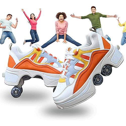 HXA Deformation Roller Shoes Retractable Skating Shoes That Turn into Roller Skates Outdoor Parkour Shoes with Wheels for Girls Boys…Orange-7