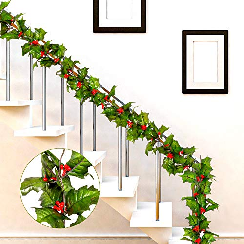 Whaline Red Berry Christmas Garland 7.2Ft Artificial Burgundy Berry with Green Leaves Garland Realistic Christmas Hanging Vine Wreath for Xmas Winter Holiday New Year Fireplace Door Frame Decoration