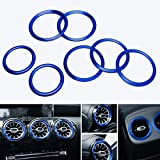 iJDMTOY 7pc Sports Blue Aluminum Air Conditioner Vent/Opening Inner Trim Decoration Covers Compatible With Mercedes 2018-up W177 A-Class, 2019-up C118 CLA-Class