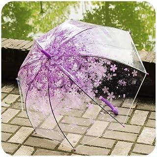 Chiasa 透明な傘 長傘 ジャンプ傘 おしゃれ ドーム型 高強度グラスファイバー採用 梅雨対策 バブルアンブレラ 女用の傘 頑丈な8本骨 かわいい(さくら紫)