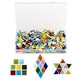 Kesote 600 Pezzi di Multicolore Mosaico a Forme Assortite Mosaico per la Decorazione di Casa o Creazione di Fai-da-Te, Mosaico a 3 Forme, Quadrato, Triangolo e Rombo