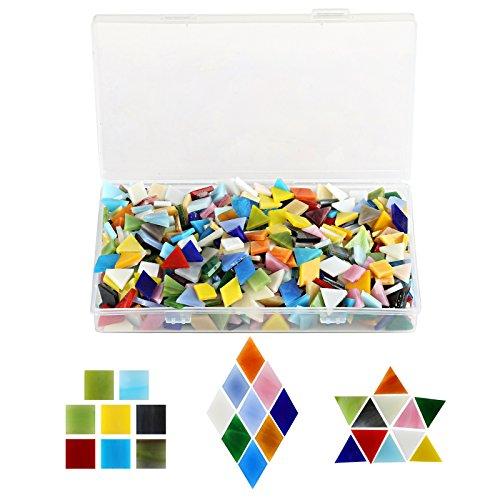 Kesote 600x Mosaiksteine Glasmosaik Bastelmix Bunt Mosaik (Quadrat, Dreieck, Raute)