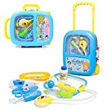 WISHKEY Doctor Play Set with Blue Trolley Suitcase with Light and Sound Effects