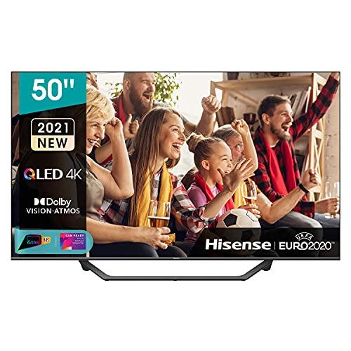 Hisense 50 QLED 4K 2021 50A78GQ, Quantum Dot, Smart TV VIDAA 5.0, HDR Dolby Vision, Audio Dolby Atmos, Controlli vocali Alexa / Google Assistant, Tuner DVB-T2/S2 HEVC 10, lativù 4K