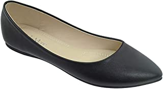 Bella Marie Angie-53 Classic Pointy Toe Ballet Slip On Flats Shoes Nude-52