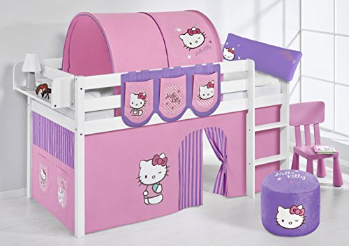 Lilokids Jelle Hello Kitty Lit Mezzanine en Bois avec Rideau pour lit d'enfant Violet 208 x 98 x 113 cm