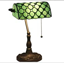 Tiffany Style Banker Table Lamp Vintage Colored Crystal Beads with Zinc Alloy Base for Study Bedroom Living Room Bedside D...