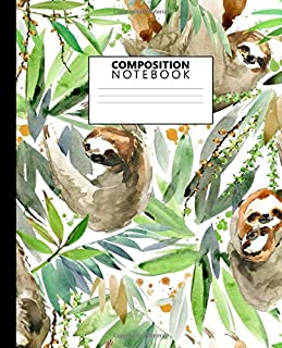 Composition Notebook: Pretty Watercolor Art Sloth College Ruled Notebook for Students, Kids and Teens. Cute Lined Journal for School & College for Writing & Notes.