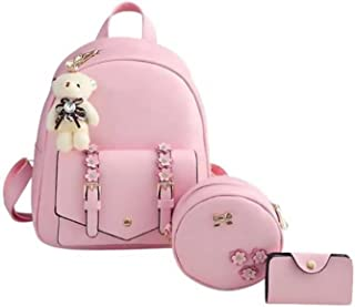 AnyCraft Stylish Small backpack and sling bag set for ladies, school or college girl's combo of 3 ( Pink, 5L)