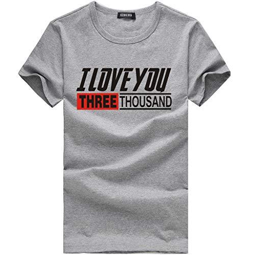 Shirt Männer I Love You Three Thousand Times Brief Gedruckt Mode Tees Kurzarm Top Oansatz Einfache Bluse Grau XXL