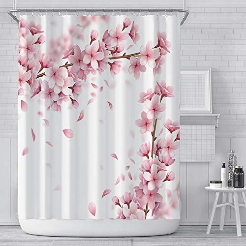 KONZFL TapisserieRosa Kirschblüte Pfirsichblüten Duschvorhang Weißer Hintergr& Mädchen Badezimmer Wasserdicht Polyester Tuch Display Mit Haken Set