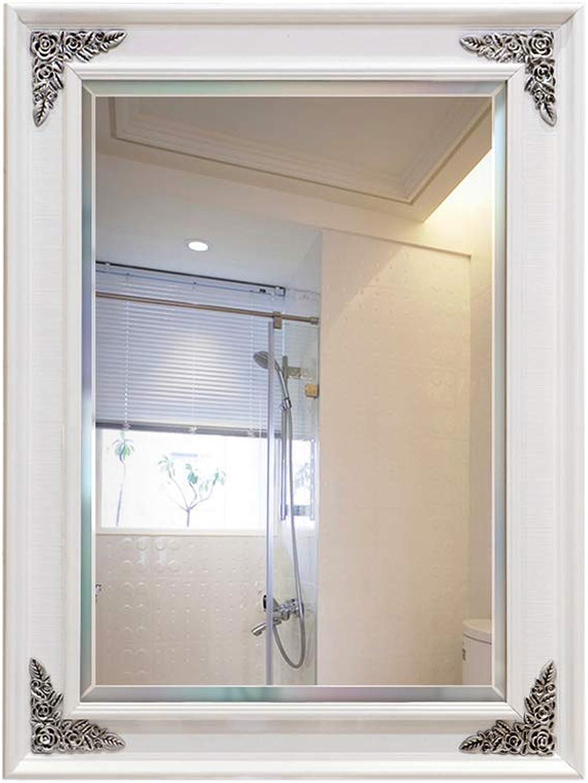European Bathroom Mirror, Square Rustic Style Mirror - Decorative Wall Hanging Mirror - HD Glass Silver Mirror (Size   80x100cm) (color   -, Size   50x70cm)